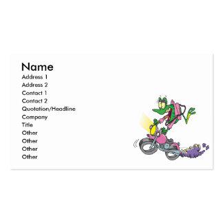 biker chick froggy frog animal cartoon business card template