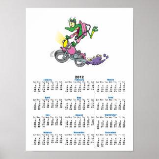 biker chick froggy frog animal cartoon poster