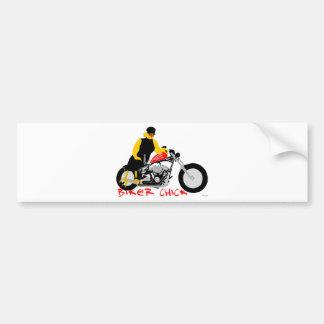 BIKER CHICK leaning against her Harley Davidson Bumper Sticker