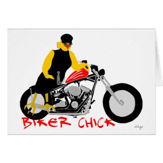 BIKER CHICK leaning against her Harley Davidson Greeting Card
