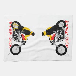 BIKER CHICK leaning against her Harley Davidson Kitchen Towels