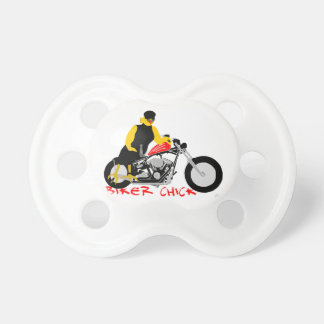 BIKER CHICK leaning against her Harley Davidson Baby Pacifiers