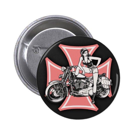 Biker Chick - Maltese Pinback Button