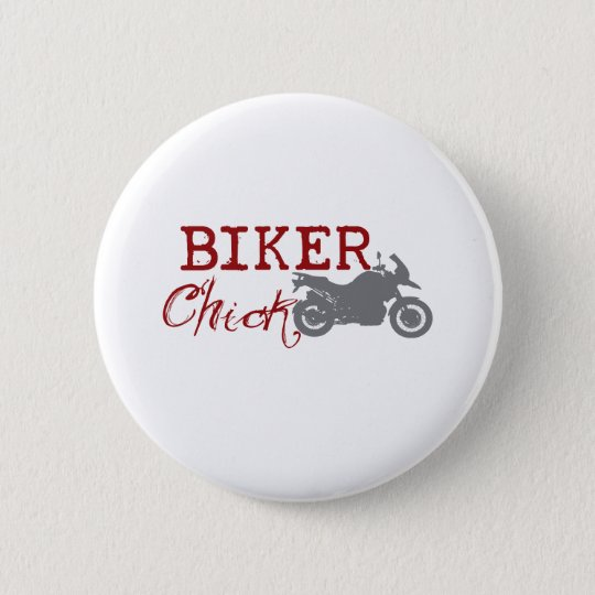 Biker Chick Pinback Button