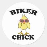 Biker Chick Round Stickers
