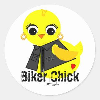 Biker Chick Classic Round Sticker