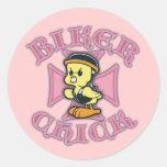 Biker Chicklette Classic Round Sticker