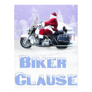 biker clause postcard