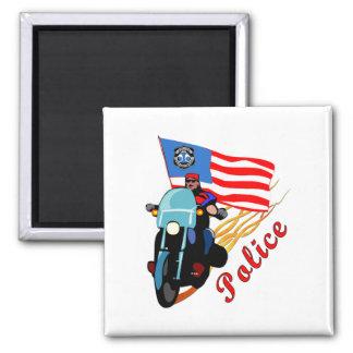 Biker Cops 2 Inch Square Magnet