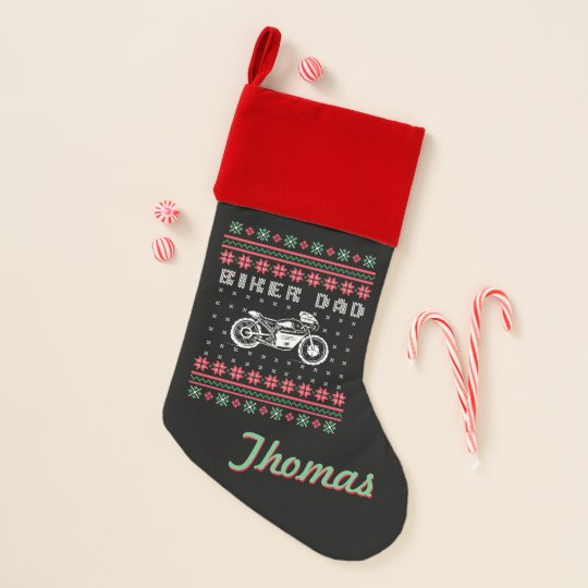 biker dad motorcycle ugly christmas sweater christmas stocking - Biker Christmas