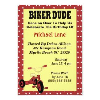 Biker Dude Tricycle Birthday Invitation
