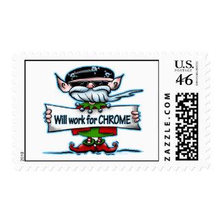 Biker Elf postage stamp