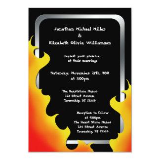 "Biker Flames Silver Frame Wedding ~ Invitations 5"" X 7"" Invitation Card"