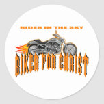 Biker For Christ Classic Round Sticker