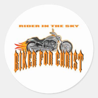 Biker For Christ Round Sticker