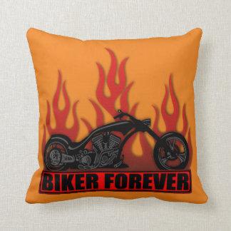 Biker Forever Throw Pillows