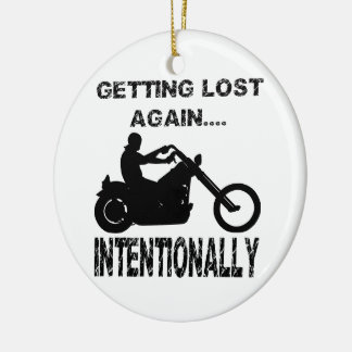 Biker Getting Lost Again Intentionally Double-Sided Ceramic Round Christmas Ornament