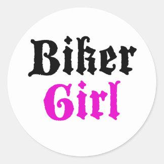 Biker Girl Classic Round Sticker