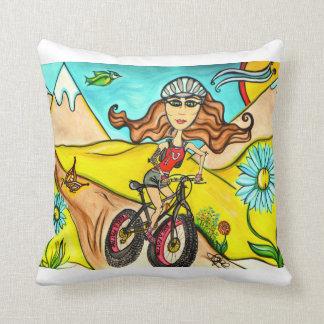 Biker Girl Diva Throw Pillow