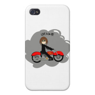 BIKER GIRL - LOVE TO BE ME.png Cover For iPhone 4