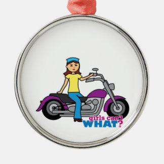 Biker Girl Metal Ornament