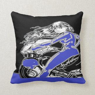 Biker Girl Pillow