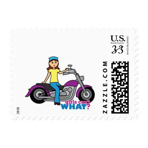 Biker Girl Postage Stamps