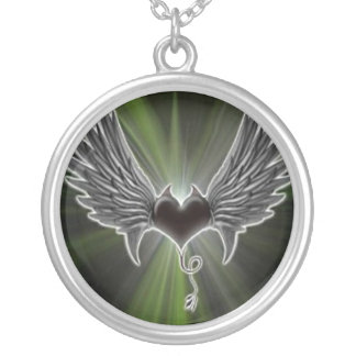 Biker Heart With Wings Necklace