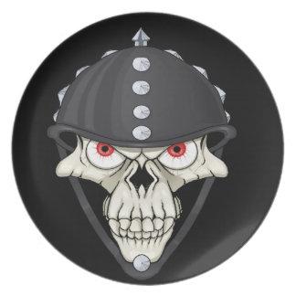 Biker Helmet Skull design for Motorcycle Riders Dinner Plate
