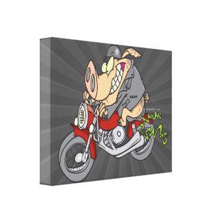 biker hog pig motorcycle bike cartoon gallery wrap canvas