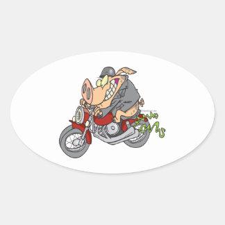 biker hog pig motorcycle bike cartoon oval sticker