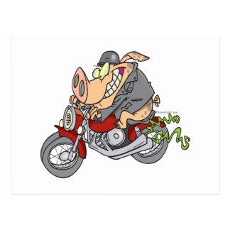 biker hog pig motorcycle bike cartoon postcard