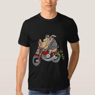 biker hog pig motorcycle bike cartoon t-shirt