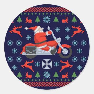 Biker Holiday Sweater Tees Classic Round Sticker