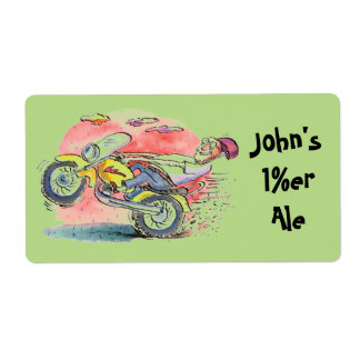 Biker Homebrew Beer Personalize these Gift Labels