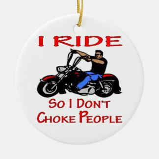 Biker I Ride So I Don't Choke People Double-Sided Ceramic Round Christmas Ornament