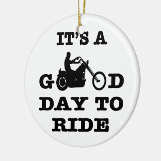 Biker It's A Good Day To Ride Double-Sided Ceramic Round Christmas Ornament