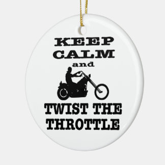 Biker Keep Calm And Twist The Throttle Double-Sided Ceramic Round Christmas Ornament