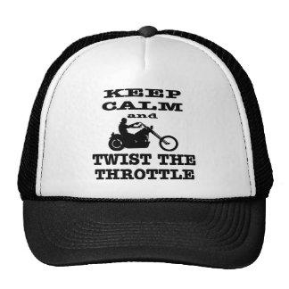 Biker Keep Calm And Twist The Throttle Trucker Hat