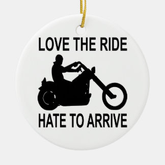 Biker Love The Ride Hate To Arrive Double-Sided Ceramic Round Christmas Ornament