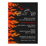Biker Motorcycle Black Leather Flames Invitation