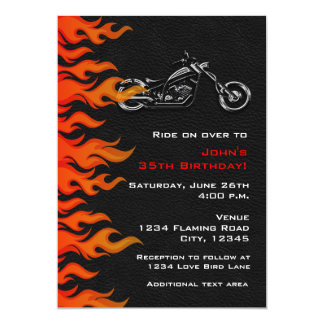 """Biker Motorcycle Leather Flames Party Invitation 5"""" X 7"""" Invitation Card"""