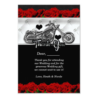 Biker Motorcycle & Red Roses Thank You Card