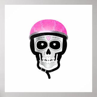 Biker or Cyclist Sugar Skull Poster