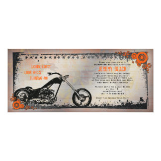 Biker or Motorcycle Birthday Invitation