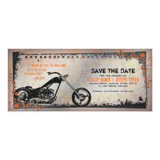 Biker or Motorcycle Wedding Save the Date Personalized Invite