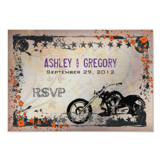 Biker or Motorcyle Wedding RSVP Reply card Purple Announcements