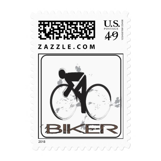 Biker Postage Stamp
