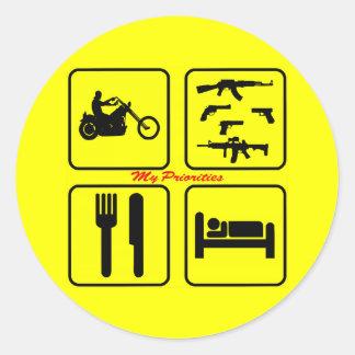 Biker Priorities Riding Motorcycles, Guns, Eat & Classic Round Sticker