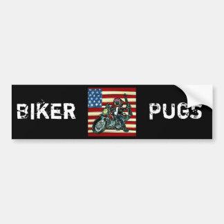 Biker Pug Bumper Sticker